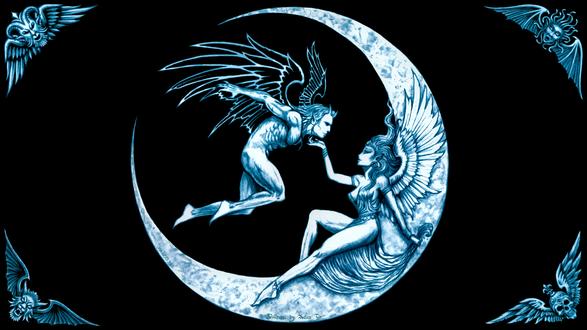 Обои Ангелы мужчина и женщина на Луне, by Joseph Vargo