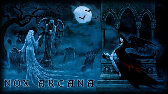 Обои Одна вампирша гуляет на кладбище ночью, а другая поймала мужчину и собирается пить кровь (Nox arcana)