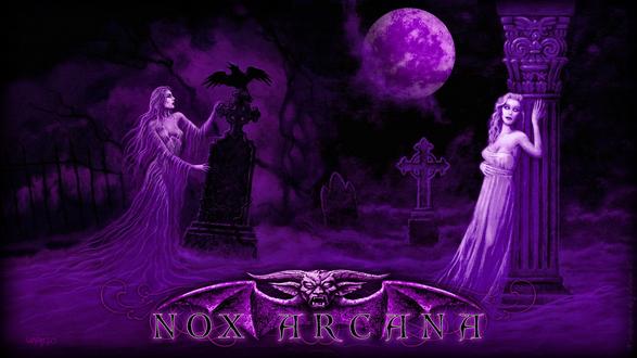 Обои Две вампирши гуляют ночью в полнолуние на кладбище, разговаривают с воронами, by Joseph Vargo (nox arcana)