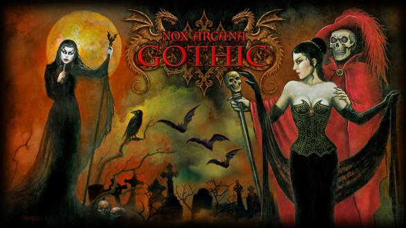 Обои Призрак оперы с девушкой и колдунья в маске на кладбище в полночь, by Joseph Vargo (nox arcana, gothic)