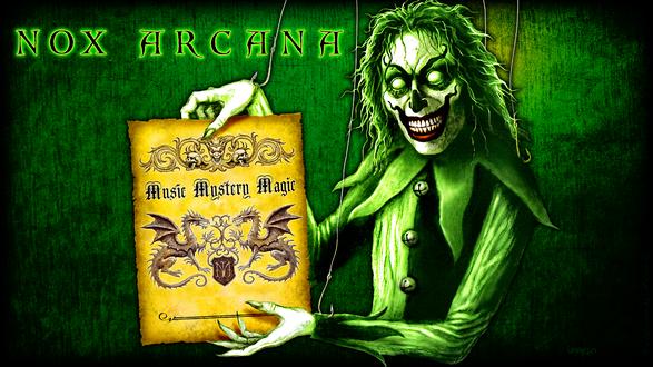 Обои Зеленый зомби-клоун рекламирует книжку о влиянии музыки и магии, by Joseph Vargo (nox arcana)