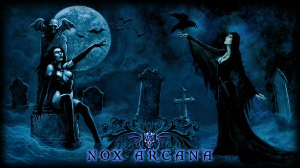 Обои Сексапильные вампирши на кладбище с воронами и летучими мышами под луной (nox arcana)