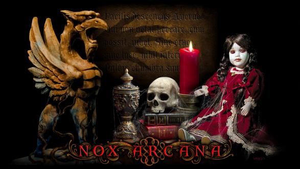 Обои Страшная кукла в паутине с черепом, книгами, свечей, граалем и чудищем, by Joseph Vargo (nox arcana)