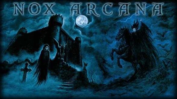Обои Приведение и гаргулии охраняют крепость под Луной, и веселая вампирша катается на лошади, и летучие мыши кружат, by Joseph Vargo (nox arcana)