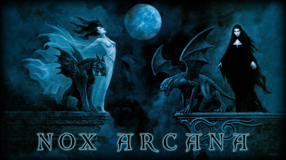 Обои Вампирши гуляют на крыше с гаргульями под луной, by Joseph Vargo (nox arcana)
