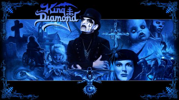 Обои King Diamond в окружении героев своего хоррор-шоу на фоне страшного дома