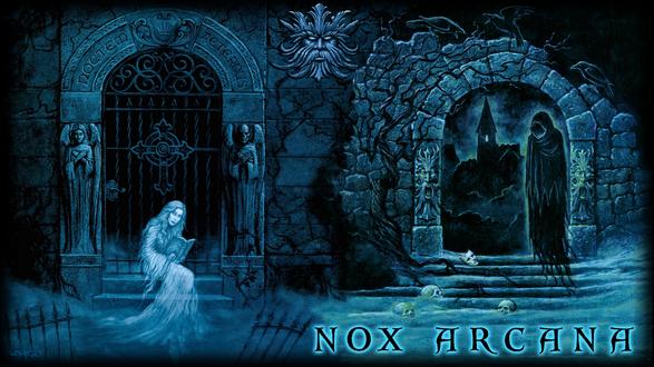 Обои Девушка на крыльце читает книжку, приведение охраняет вход в поместье вампиров, by Joseph Vargo (nox arcana)