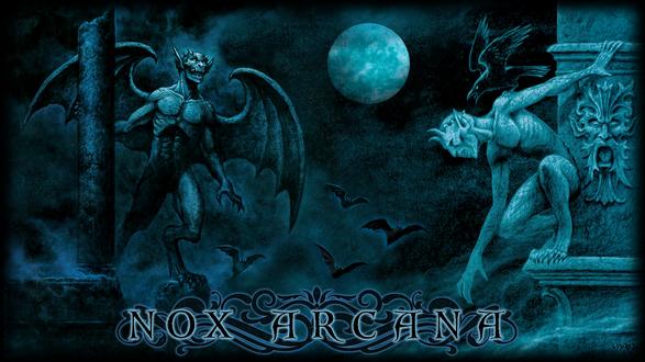 Обои Обратившиеся вампиры на крыше здания под луной с летучими мышами, by Joseph Vargo (nox arcana)
