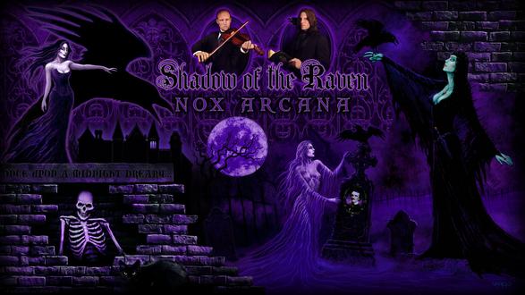 Обои Героини картин художника и музыканта Джозефа Варго - вампирши, приведения, скелеты, музыканты группы Nox Arcana (shadows of the raven)