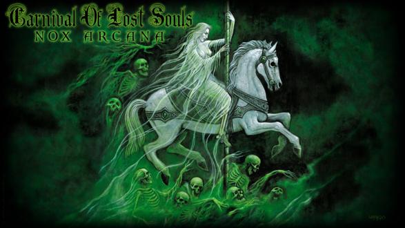 Обои Белая женщина с копьем на коне в окружении черепов в зеленом тумане, by Joseph Vargo (nox arcana)