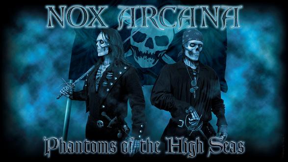Обои Музыканты Nox Arcana в роли пиратов на фоне веселого Роджера (phantoms of the high seas)