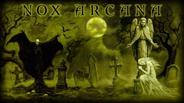 Обои Вампир восстал на кладбище, но девушка этого не видит, потому что она захвачена горем в обнимку с каменным ангелом, by Joseph Vargo (nox arcana)