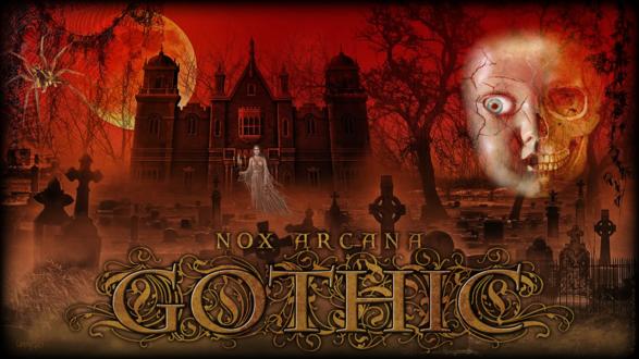 Обои Приведение идет из замка на кладбище, над которым висит лик полукуклы -получерепа, by Joseph Vargo (nox arcana, gothic)