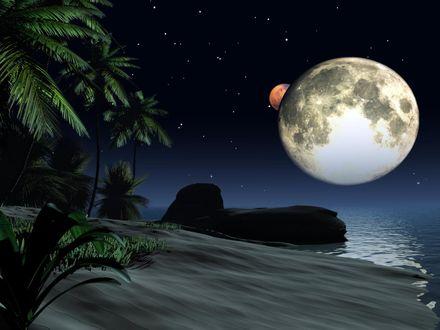 Обои Морской пейзаж на фоне ночного неба, звезд и луны