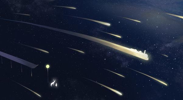 Обои Космическая фантазия с падающими метеоритами, by Shikamuro