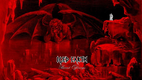 Обои Сцена из Божественной комедии Данте - путешественники в ад стоят на сколе и видят думающего Люцифера, который закован в лед (iced earth)
