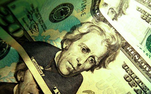 Обои Портрет президента Jackson / Джексона на банкноте в 20 долларов США / twenty dollar United States of America