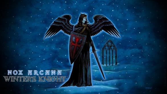 Обои Ангел-воин с мечем и щитом стоит в снегу на фоне полуразрушенной готической арки (nox arcana, winters knight)
