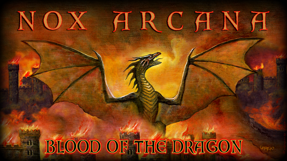Обои Дракон на фоне горящей крепости празднует победу на фоне страшного огненного неба (nox arcana, blood of the dragon)