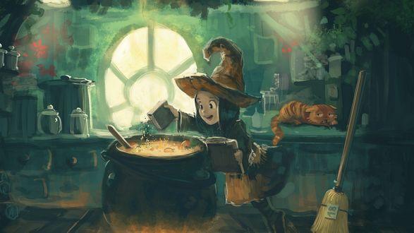 Обои Маленькая ведьма с увлеченьем готовит зелье в котле, рядом лежит на столе рыжий кот