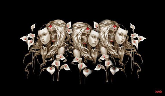 Обои Девушки-скелеты с масками человеческих лиц прячутся среди лилий