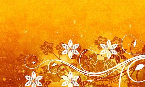 Обои Абстракция из цветов и узоров на оранжевом фоне