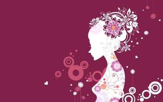 Обои Абстракция девушки с цветами