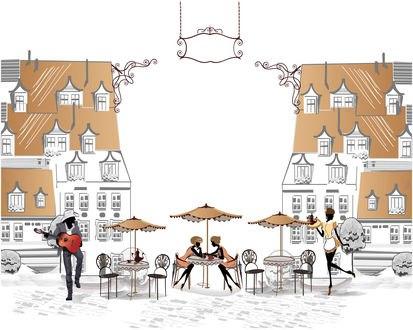 Обои Небольшое кафе прямо на улице, две девушки-клиентки сидят за столиком и разговаривают, официантка несет им чайник на подносе, мужчина играет на гитаре