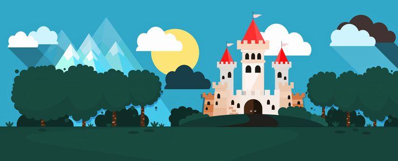 Обои Сказочный замок на природе