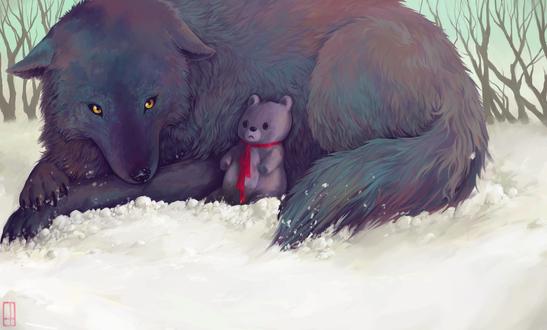 Обои Волк с плюшевым мишкой лежит на снегу, by Glad-Sad
