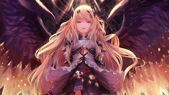 Обои Темный ангел Оливия / Dark Angel Olivia из коллекционной карточной игры Ярость Бахамута / Shingeki no Bahamut / Rage of Bahamut расправила свои крылья, автор Pip