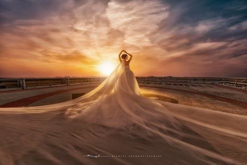 Обои Девушка в свадебном платье стоит на фоне солнца, фотограф Michael Anthony