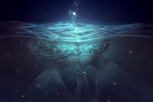 Обои Парень и девушка целуются под водой, by slyvanie