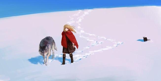 Обои Девушка и волк рядом, автор Treeware