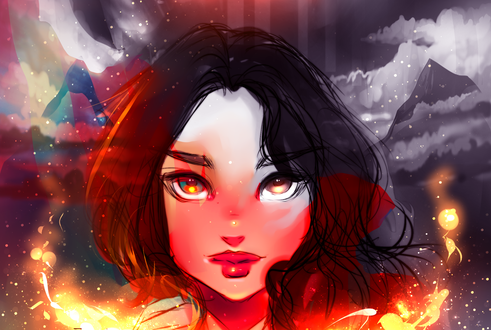 Обои Портрет девушки в огне, by ryky
