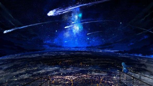 Обои Девочка смотрит на ночной город, над которым в звездном небе пролетают метеориты, автор Y_Y