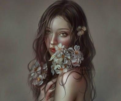 Обои Красивая девушка с белыми цветами на волосах, by leejun35