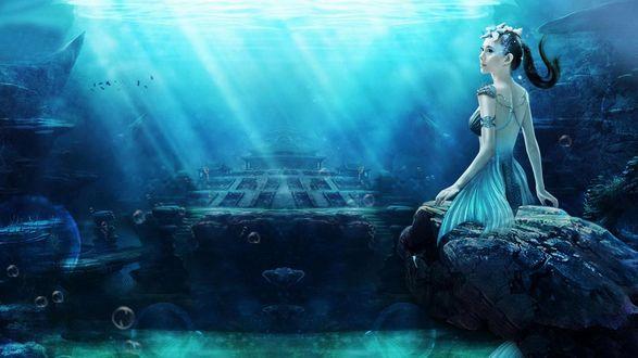 Обои Девушка - русалочка сидит под водой на камне с украшениями в виде ракушек на голове