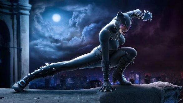 Обои Девушка - кошка на крыше здания на фоне луны и ночного неба
