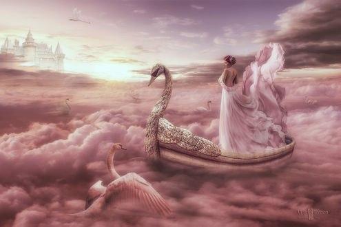 Обои Девушка в лодке на лебединном озере, by AIvett