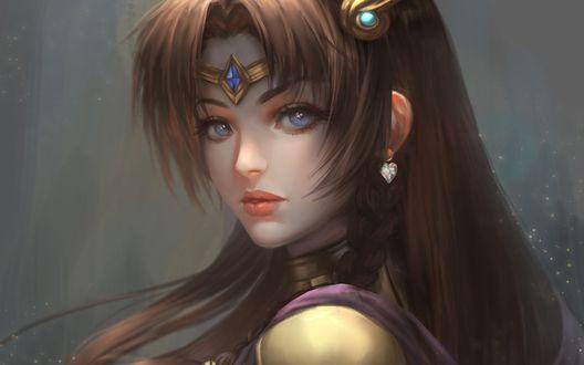 Обои Красивая девушка с голубыми глазами в украшениях