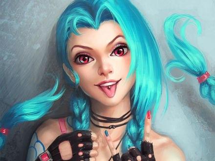 Обои Джинкс / Jinx из игры Лига легенд / League of Legends, art by Ayya Saparniyazova