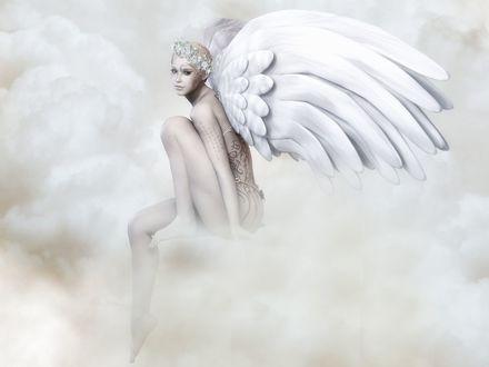 Обои Девушка - ангел с тату на теле в облаках
