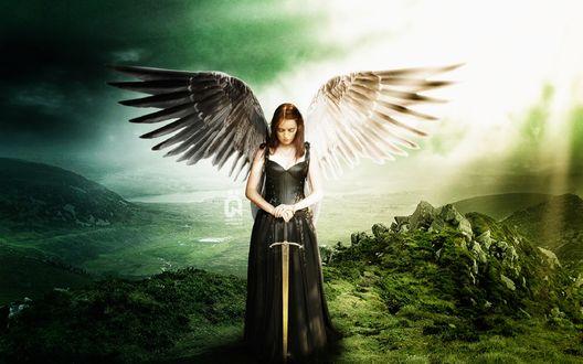Обои Девушка ангел воин стоит с мечом в руках, опустив голову вниз, by Sadthree