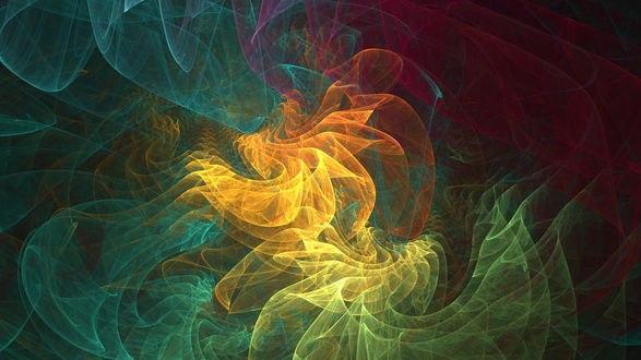 Обои Разноцветный фрактальный дым