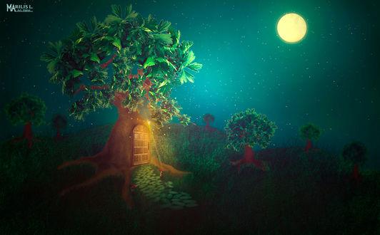 Обои Фантастическое дерево -домик на фоне неба с полной луной, by Marilis5604