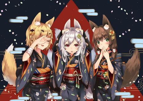 Обои Три девушки в форме лисицы, кролика и волка, by Duji Amo