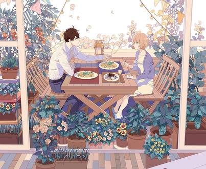 Обои Agata Youji / Агата Юджи и Kurisaka Mamori / Курисака Мамори кушают вместе за столом в окружении растений и цветов, из аниме Oishii Veranda, by Okazaki Oka