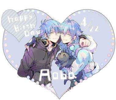 Обои Ren / Рен, Seragaki Aoba / Серагаки Аоба и Sly Blue, из визуальной новеллы и аниме DRAMAtical Murder / Драматическое убийство, by Srn (Happy birthday 4 / 22 Aoba / С днем рождения Аоба)