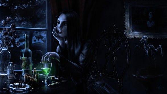 Обои Девушка пьет абсент ночью у окна